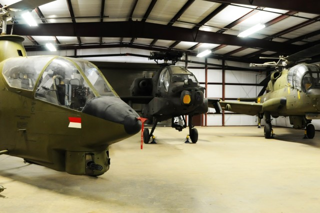 Aircraft sit in one of the storage facilities behind the U.S. Army Aviation Museum that houses much of the museum's unseen collection.