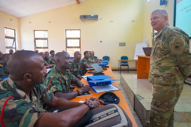 U.S. Army Brig. Gen. Kenneth Moore, U.S. Army Africa deputy commander, speaks to Malawi Sergeant Major Academy students during the final planning event for the Africa Land Forces Summit 2017, Salima, Malawi, March 28, 2017. ALFS is an annual, weeklong seminar bringing together land force chiefs from across Africa for candid dialog to discuss and develop cooperative solutions to regional and trans-regional challenges and threats.