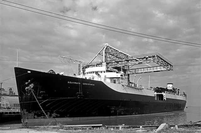 The Seatrain Louisiana was one of several Seatrain cargo ships that transported goods to the Kwajalein Atoll in the 1970s. Built in 1951, this photo shows the Louisiana in Galveston, Texas in 1952.