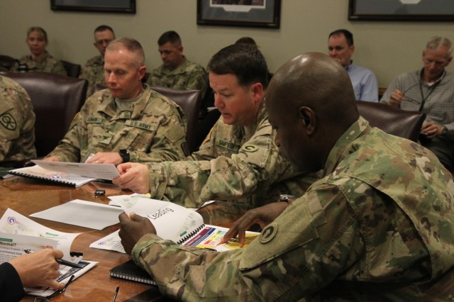 From left to right, Col. Sean J. Cannon, Support Operations officer in charge, 451st Sustainment Command (Expeditionary), Col. Andrew Sampson, Strategic Operations and Plans (SOaP) team officer in charge, 1st Sustainment Command (Theater), and Master Sgt. Willie Hayes, SOaP team non-commissioned officer in charge, discuss challenges and lessons learned with representatives from the Doctrine and Collective Training Directorate April 11 at Combined Arms Support Command, Fort Lee, Va.