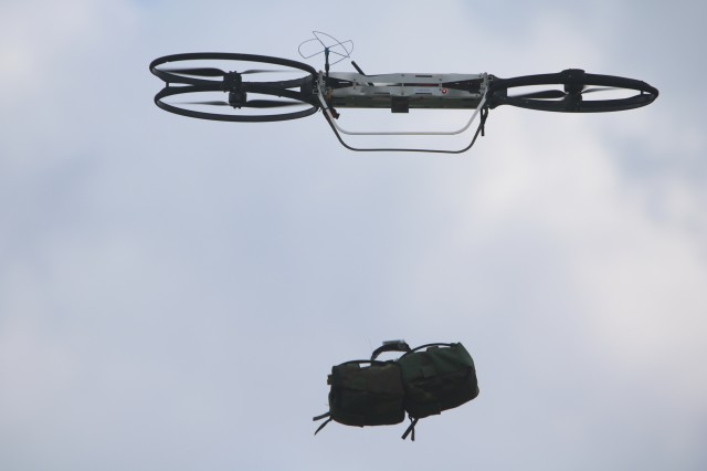 A joint tactical autonomous air resupply systems (JTAARS) drops a small package during the Maneuver Fires Integrated Experiment (MFIX) at Fort Sill, April 12. Plans are in the making to provide a family of systems, several different prototypes, each with different technical approaches and capabilities and able to carry between five and 600 pounds.