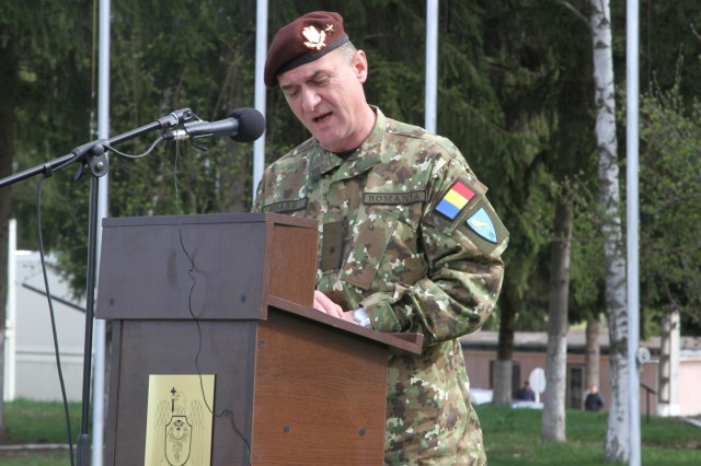 Romanian Brig. Gen. Gheorghe Soare, commander of the Romanian 10th Engineer Brigade, delivers a speech to American and Romanian forces as an introduction to Resolute Castle 2017 at Cincu Training Center, Romania on April 14, 2017. The opening ceremony marks the third year of Resolute Castle, a training exercise for engineers that supports Operation Atlantic Resolve, a NATO mission involving the U.S. and Europe in a combined effort to promote peace and deter aggression. (Photo by Army Pvt. Nicholas Vidro, 7th Mobile Public Affairs Detachment)