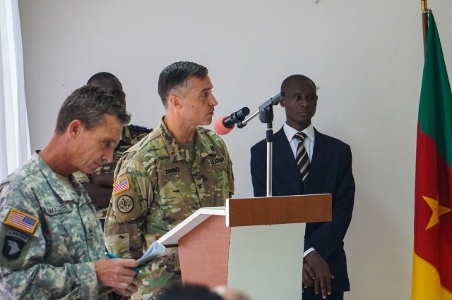 Col. Michael Zinno, U.S. Army Africa G9 Director, provides opening remarks during the opening ceremony for the Unified Focus 2017 initial planning event (IPE), Douala, Cameroon, Oct. 11, 2016. The UF17 IPE brought partner nation planners together for the first time to discuss and begin shaping the inaugural Unified Focus exercise designed to enhance and enable Lake Chad Basin Commission nations to support the Multinational Joint Task Force (MNJTF) counter-Boko Haram operations.