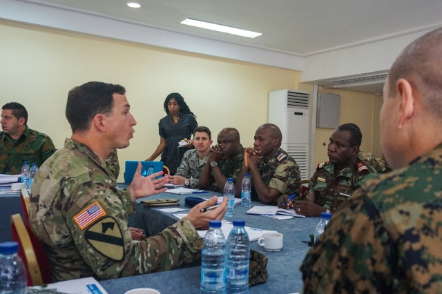 U.S. Army Capt. Scott Saunders leads a discussion on training objectives during the Unified Focus 2017 initial planning event (IPE), Douala, Cameroon, Oct. 12, 2016. The UF17 IPE brought partner nation planners together for the first time to discuss and begin shaping the inaugural Unified Focus exercise designed to enhance and enable Lake Chad Basin Commission nations to support the Multinational Joint Task Force (MNJTF) counter-Boko Haram operations.