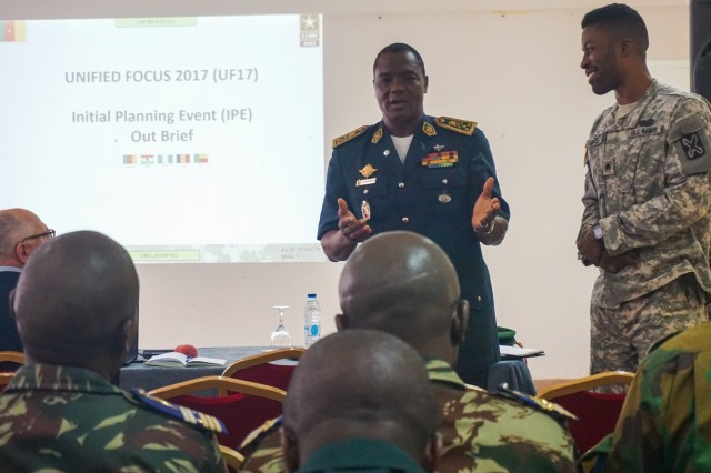 Cameroonian Maj. Gen. Saly Mohamadou provides closing remarks during the conclusion of the Unified Focus 2017 initial planning event (IPE), Douala, Cameroon, Oct. 14, 2016. The UF17 IPE brought partner nation planners together for the first time to discuss and begin shaping the inaugural Unified Focus exercise designed to enhance and enable Lake Chad Basin Commission nations to support the Multinational Joint Task Force (MNJTF) counter-Boko Haram operations.