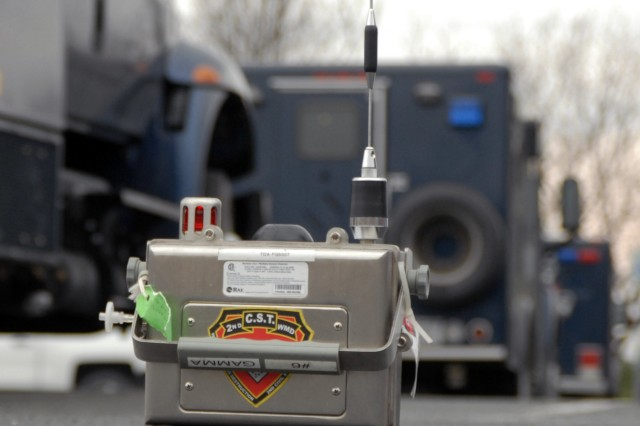 An AreaRAE Steel wireless gas monitor, set up by the New York National Guard's 2nd Civil Support Team (CST), operates at Joseph L. Bruno Stadium in Troy, N.Y. during the team's training exercise there on April 12, 2017. Team members are trained to identify chemical, biological, and radiological agents and advise first-responders on how to deal with these materials.