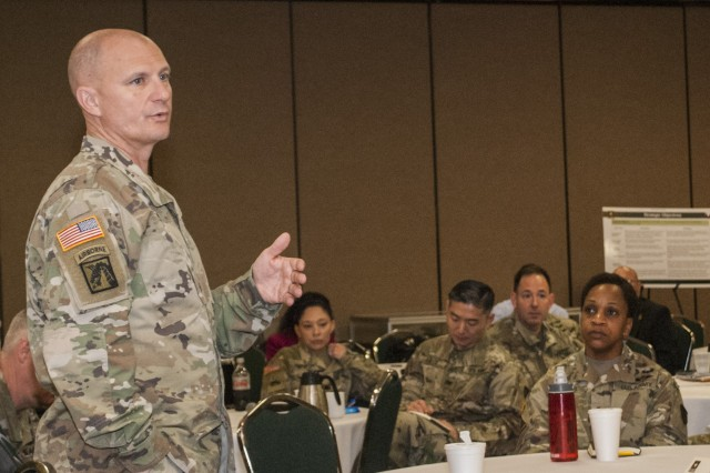 Maj. Gen. Edward Daly, commanding general of the U.S. Army Sustainment Command, speaks to leaders from the Army Field Support Brigades and Contracting support Brigades during a Senior Leaders Forum at the Radisson Hotel, Davenport, Iowa, March 29.