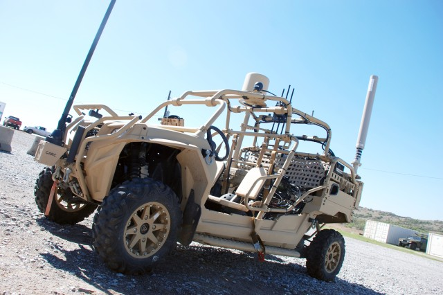 The Hunter (pictured) and Killer vehicles were experimented on during the Maneuver Fires Integrated Exercise (MFIX), April 3, at Fort Sill. The intent of the vehicles is to provide rapidly-deployed platforms that give Soldiers  cross-domain fires capabilities.