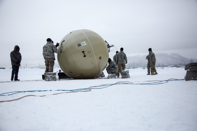 Soldiers from the 4th Infantry Brigade Combat Team (Airborne), 25th Infantry Division, U.S. Army Alaska train in February 2017 for the March Warfighter Information Network-Tactical (WIN-T) Transportable Tactical Command Communications (T2C2) operational test at Joint Base Elmendorf-Richardson, Alaska. [U.S. Army photo by Staff Sgt. Pedro Garcia Bibian, 55th Signal Company (Combat Camera)]