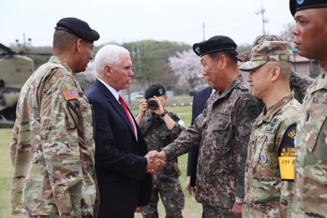U.S. Vice President Michael R. Pence shakes hands with South Korean Gen. Leem Ho-Young, deputy commanding general of Combined Forces Command, near the demilitarized zone in South Korea, April 17, 2017. Pence is making his first trip to South Korea in order to receive a strategic overview of the peninsula.
