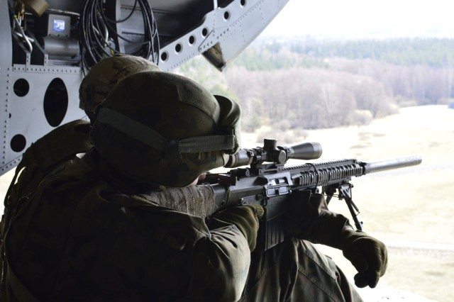 Sniper Leader Course, Operation Lone Wolf, a three-week sniper training took place from March 14-31, 2017 on Grafenwöhr Training Area and Rose Barracks. The course, designed to train and test snipers from across the 2d Cavalry Regiment, allowed Soldiers the opportunity to share tactics and techniques between Squadrons and their European Allies.