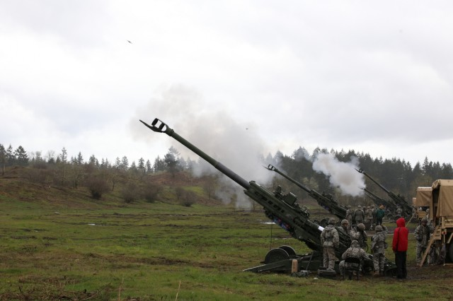 Guardsmen from 2nd Battalion, 146th Field Artillery Regiment, 81st Stryker Brigade Combat Team fire their new M777 Howitzers for the first time on April 12, 2017 at Joint Base Lewis-McChord. The new weapons come as part of the brigade's transition to a Stryker brigade, which began in September 2016.