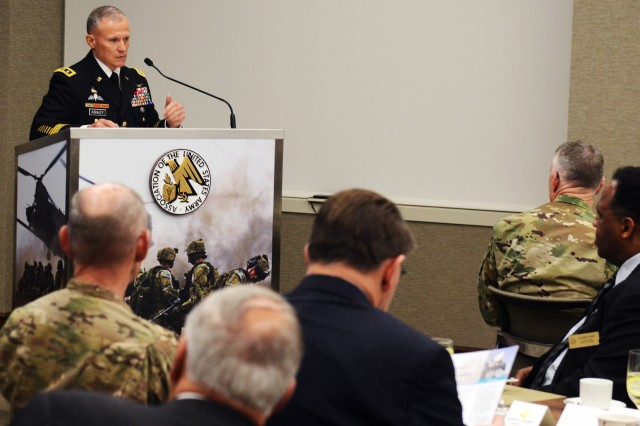 "Lt. Gen. Robert P. Ashley Jr., Army G-2, discusses an Army-wide, bottom-up intelligence review at an Association of the United States Army breakfast, titled: ""Army Intelligence 2017-2025: Intelligence at the Speed of Mission Command."" The event took place in AUSA headquarters in Arlington, Va., April 19, 2017."