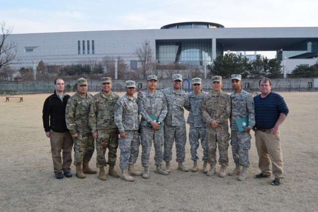 ERDC researchers pose for a group shot after the completion of Key Resolve 2017 with members of the 916th FEST-A, March 16, 2017 From left to right are Noah Garfinkle, CERL, Sgt. 1st Class Luis Rodriguez, Capt. John Lee Membrere-Mercado, 1st Lt. Mark Guirao, 1st Lt. Nuttapong Lea, 1st Lt. Kyle Ramirez, Maj. Aaron Takahashi, Capt. Seung Yoo, Capt. Jesse Jordan and Pat Guertin, CERL. (U.S. Army Image by 1st Lt. Nuttapong Lea)