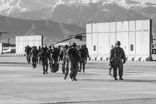 Soldiers of C Troop, 1st Squadron, 14th Cavalry Regiment, 1-2 Stryker Brigade Combat Team, conduct training and missions at Bagram Airfield, Afghanistan, April 1, 2017. Soldiers of C Troop were in Afghanistan in support of Operation Freedom Sentinel. (U.S. Army photo by Capt. Brian H. Harris)