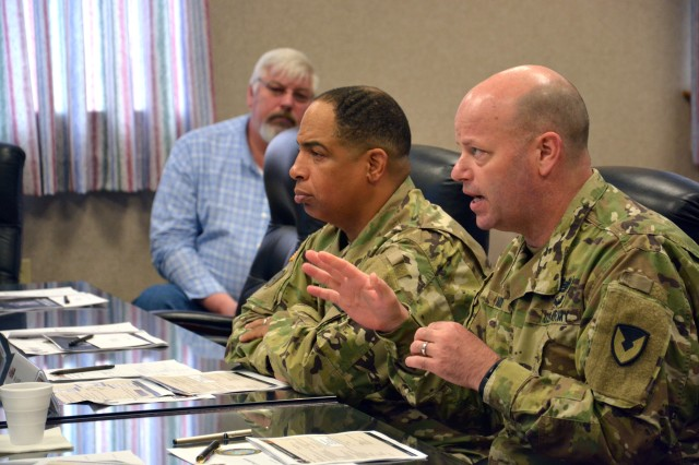 Arsenal Commander Col. Joseph Morrow, right, briefing Brig. Gen. Alfred Abramson, Deputy Program Executive Officer Ammunition and Senior Commander at Picatinny Arsenal.
