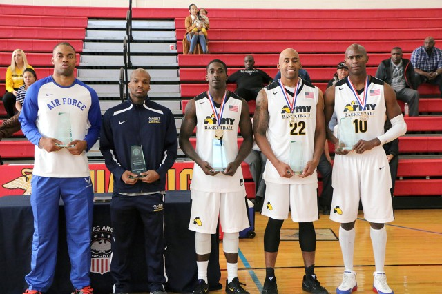 Spc. Derell Henderson (#22) stands with those chosen for the All-Tournament Team after the U.S. All-Army Men's Basketball Team's win over Air Force. The 2016 Armed Forces Men's Basketball Championship was held Nov. 1-7 at Marine Corps Base Quantico, Va.