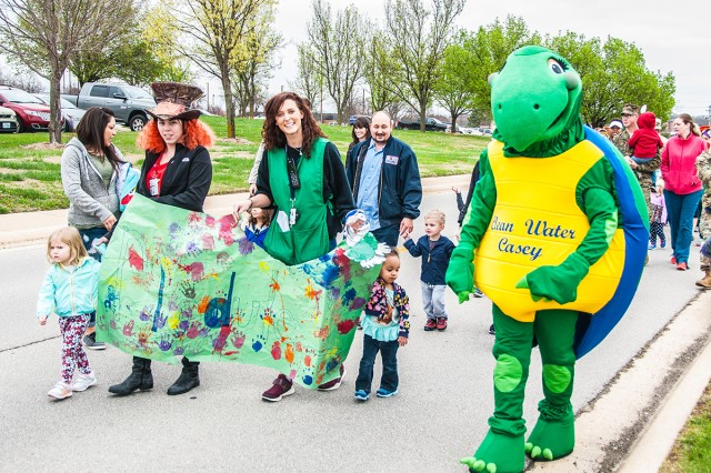 Clean Water Casey has been making appearances on Fort Leonard Wood since March 31 when he marched in the Child Development Center Mad Hatter Parade.