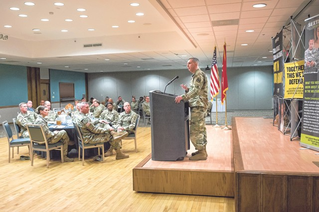 Col. Geoffrey Catlett, SHARP Academy director, addresses the audience during the Sexual Assault Awareness and Prevention Month Senior Leader Luncheon held April 13 at Fort Leonard Wood's Pershing Community Center.