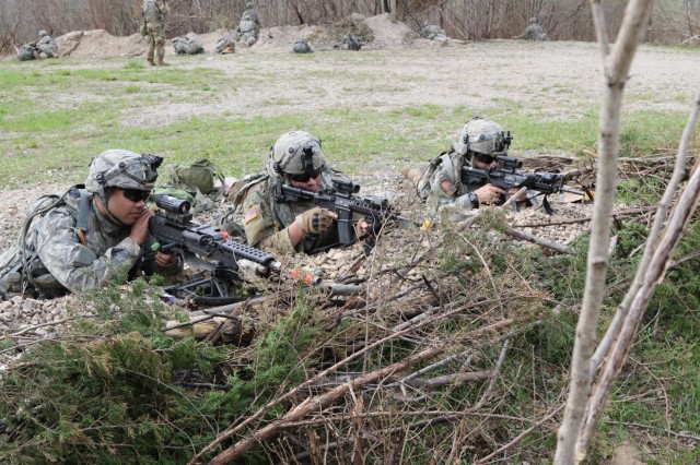 Soldiers from C Co. 1-293rd Infantry Battalion, 76th Infantry Brigade Combat Team, #Nighthawks, Indiana Army National Guard, pulls security while bunkered down in the defense Monday April 10, 2017 during the Spring Field Training Exercise in preparation for Joint Readiness Training Center rotation, #JRTC, later this summer.