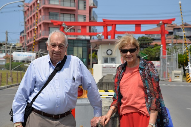 Veteran Bill Stanley and his wife Veronica returned to Torii Station 53 years after Bill left Okinawa as a Soldier.