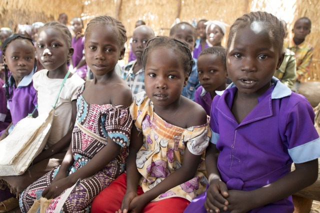 Students sit inside their primary school, a thatched hut with three classrooms, as an Army civil affairs team visits schools in northern Cameroon April 20, 2017. The team, part of the 101st Airborne Division-led Task Force Toccoa and U.S. Army Africa's efforts of helping African nations defeat Boko Haram, spoke to local officials on issues the schools are facing, so they can plan possible school projects in the future.