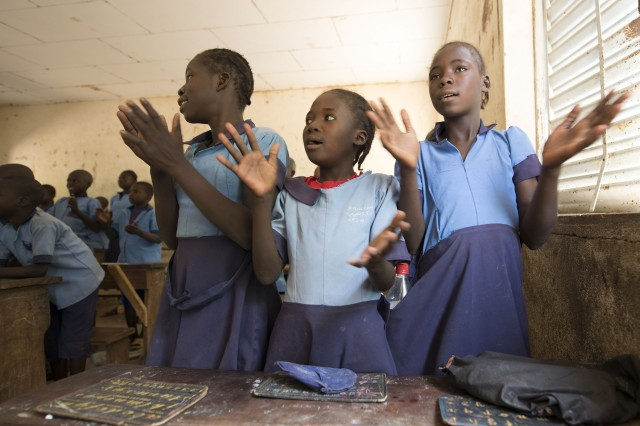 Primary school students sing a song for an Army civil affairs team as they tour their primary school in northern Cameroon April 20, 2017. The team, part of the 101st Airborne Division-led Task Force Toccoa and U.S. Army Africa's efforts of helping African nations defeat Boko Haram, spoke to local officials on issues the schools are facing, so they can plan possible school projects in the future.