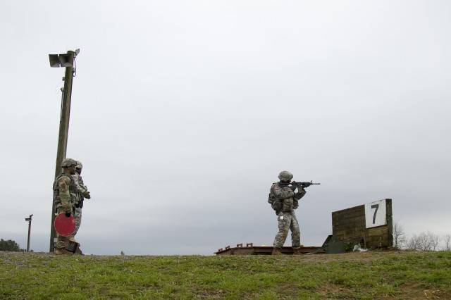 Staff Sgt. Richard Hernandez, an observer coach/trainer from 3rd Battalion, 395th Armor Regiment, 188th Infantry Brigade, engages targets downrange as part of the stress shoot event at the First Army Division East fourth-quarter Best Warrior Competition, April 11, 2017, at Fort Knox, Ky. Immediately before the stress shoot, competitors completed a 12-mile ruck march and had to quickly overcome the fatigue their bodies were facing. During the timed event, shooters had to load their magazines and get into a stable fighting position before their targets began popping up, then sprint between three iterations to retrieve additional ammunition.