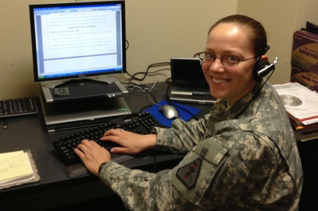 A Soldier in the JAG corps for 10 years, Staff Sgt. Sarah Hawley is a court reporter. Qualified airborne and air assault, Hawley mobilized for four years including time with the 82nd Airborne Division and at Guantanamo Bay.