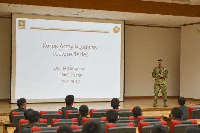 Col. Ted Stephens gives a lecture to KAAY Cadets about host nation operations and relationship building on Apr. 19.
