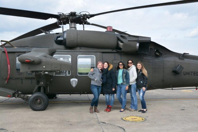 WIESBADEN, Germany -- Spouses of pilots in the 1st Battalion, 214th Aviation Regiment got a unique view of what their husbands do during a ride in a Black Hawk helicopter April 13, 2017.