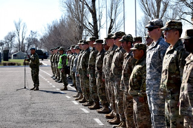 Lt. Col. Bulat Dusembayev, commander of the Kazakhstan Peacekeeping Brigade, made the opening remarks and welcomed the U.S. and U.K. soldiers to Steppe Eagle Koktem, the first phase of Exercise Steppe Eagle, during a formation Mar. 31, 2017, at Illisky Training Center, Kazakhstan.
