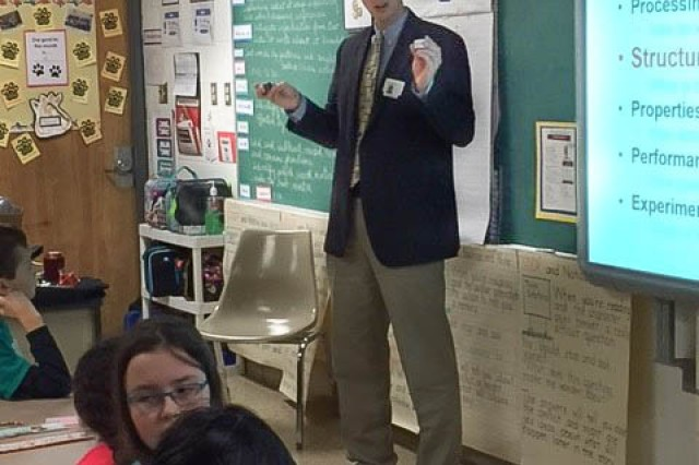 Dr. Mark Tschopp tells students what lead him to a career in science during a presentation on materials science at Homestead-Wakefield Elementary School in Abingdon, Maryland, April 7, 2017.