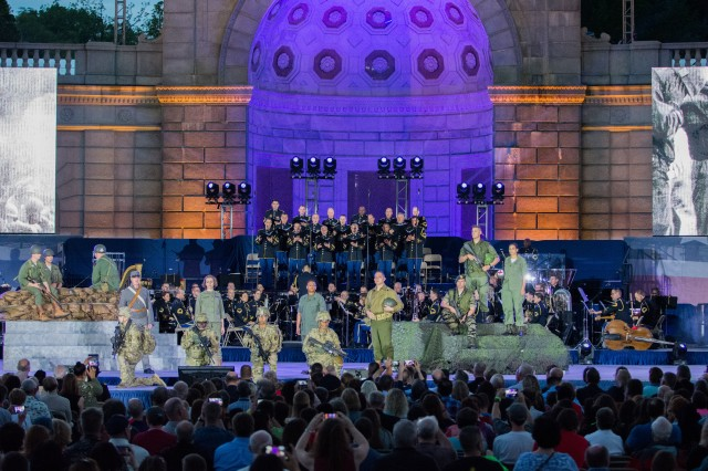 "The U.S. Army Military District of Washington presents the first-ever Celebrating America's Army: ""An Evening with Heroes and Voices"" outdoor musical extravaganza April 20-21 at the Women In Military Service For America (WIMSA) memorial outside of Arlington National Cemetery."