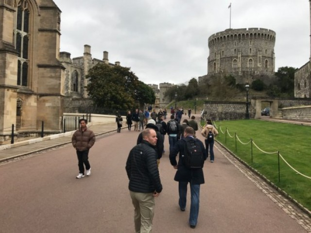 Capt. Shane Schrader, Partner Nations officer in charge, Asia Pacific Counter IED Fusion Center, enjoys the grounds of Windsor Castle during a visit by the visiting Americans. Windsor Castle was one o