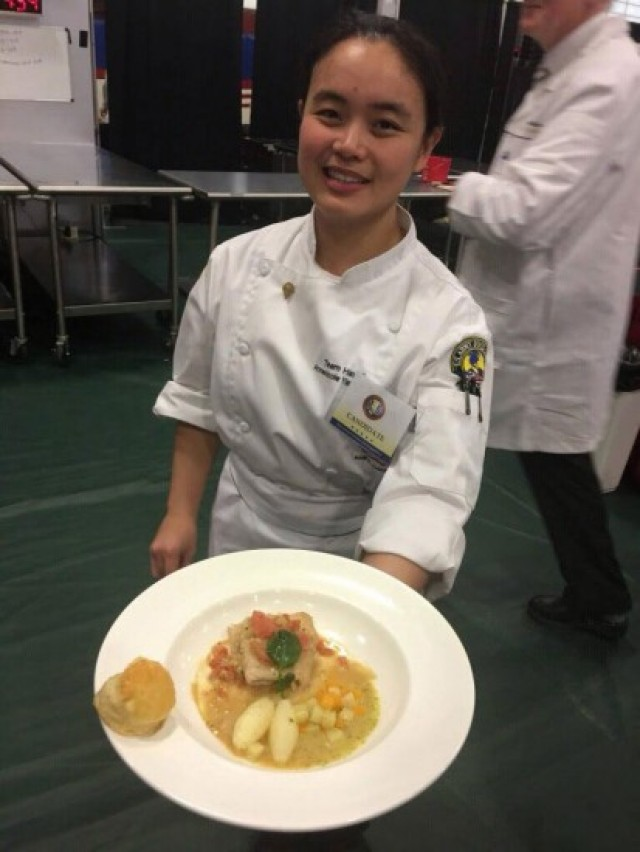 Spc. Anne Nicole Yapcengo, 307th Expeditionary Signal Battalion, competes with the Hawaii Culinary Arts Team at Fort Lee, Virginia. (Photos courtesy of Staff Sgt. William Pelkey, 307gh Expeditionary S