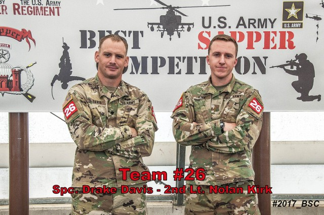 130th Engineer Brigade Team (from left to right) of Spc. Drake Davis and 2nd Lt.  Nolan Kirk in their official photo for the 2017 Best Sapper Competition (Photo Illustration Courtesy of  Fort Leonard Wood PAO)