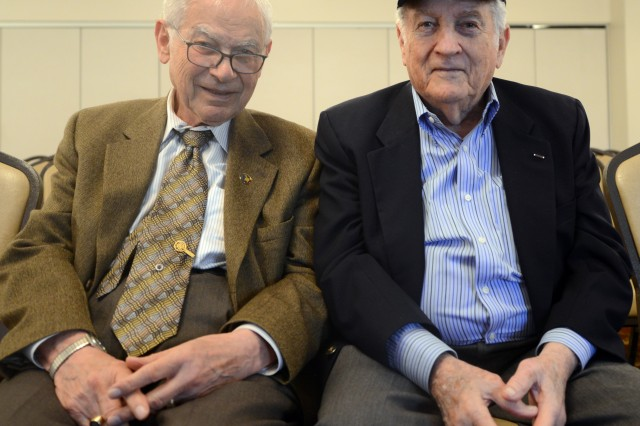 Holocaust survivor Ernest Gross  (left) and former Sgt. Don Greenbaum (right)  spend their time visiting schools and other groups to tell younger generations of the holocaust and to ensure that no one ever forgets.