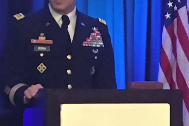 """Gen. """"Gus"""" Perna delivered the government keynote address to industry representatives during the National Defense Industrial Association Logistics Forum, April 20.  (Courtesy Photo)"""