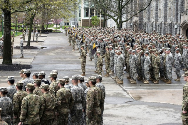 The Corps of Cadets attend formation April 26 prior to attending the lunch service at Washington Hall. LRC-West Point operates and maintains food services at the dining facility, which can feed 5,000 cadets at once. (Photo by Capt. Lonnie Collier, ASC Public Affairs)