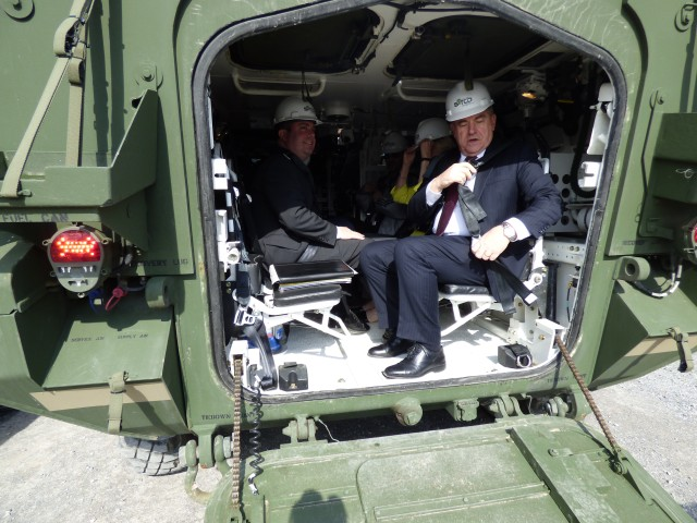 Lt. Gov. Guadagno's team experienced a rolling tour of a Stryker while visiting the CGA.