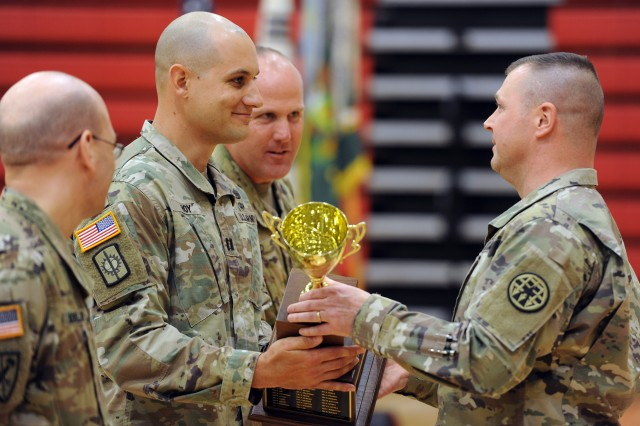 U.S. Army Correctional Activity-Korea won the Brig. Gen. Jeremiah P. Holland Award as the best company-sized Military Police unit in the Army. Here, Command Sgt. Maj. Bradley E. Cross, command sergeant major of the Army Corrections Command presents the trophy to USACA-K Commander Capt. Derick M. Hoy as Facility Sergeant Major Sgt. Maj. Justin E. Shad and First Sergeant 1st Sgt. Shad O. Soellner look on.