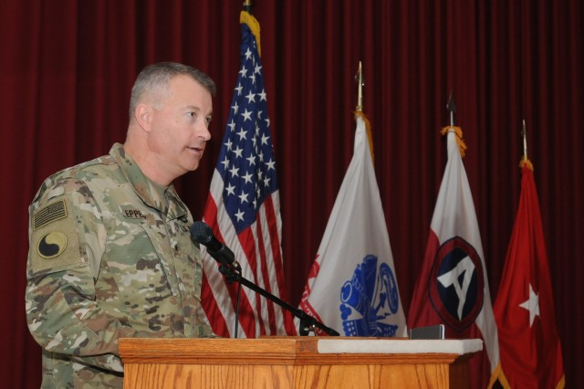 Brig. Gen. John Epperly, Deputy Commanding General, 29th Infantry Division, talks about the importance of vigilance and taking care of one another at a ceremony starting the sexual assault awareness prevention month, April 1, 2017.  The ceremony was followed by the releasing of dozens of balloons with words of awareness written on them as a symbol of solidarity.
