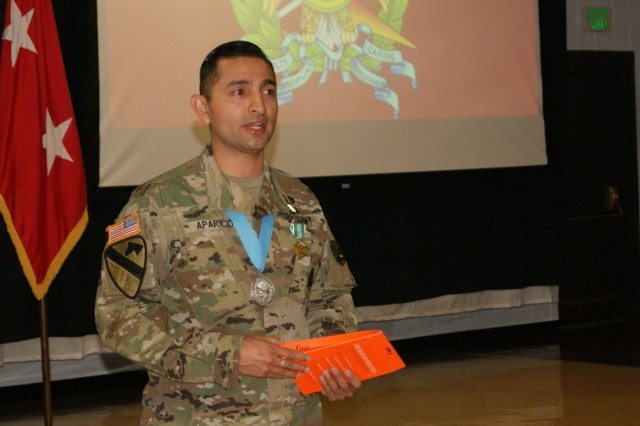 Sgt. 1st Class Daniel Aparicio shares his gratitude at his Sgt. Audie Murphy Club induction ceremony held at Fort Devens, Massachusetts, April 6, 2017.  Aparicio is assigned to the Regional Training Site Maintenance-Devens, which falls under the 94th Training Division.