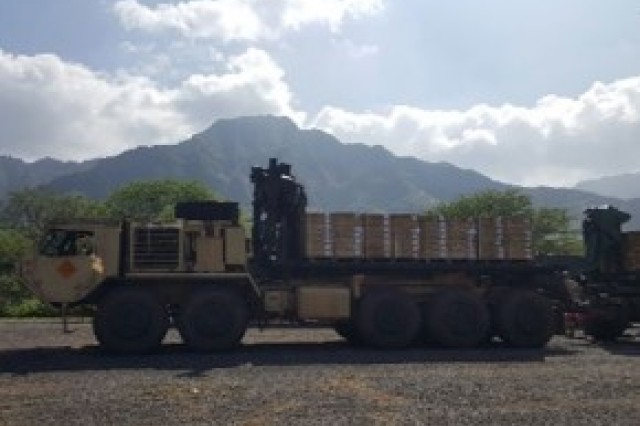 SCHOFIELD BARRACKS, Hawaii -- Soldiers from the 25th Composite Truck Company, 524th Combat Sustainment Support Battalion, 25th Sustainment Brigade, load pallets of ammunition onto M1075 Palletized Loading Systems for delivery from West Loch to Lualualei, Hawaii.  (U.S. Army photo by 1Lt. Sandra Rojas, 25th Sustainment Brigade /Released).