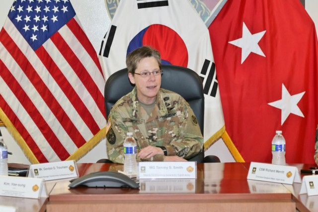 Eighth Army Deputy Commanding General-Sustainment, Maj. Gen. Tammy S. Smith, speaks to members of the KATUSA Veterans Association during their visit to U.S. Army Garrison-Humphreys in Pyeongtaek, South Korea, Apr. 25. The visit provided the KVA with a better understanding of Eighth Army transformation and an overview of construction at USAG-Humphreys.
