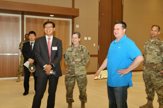 Members of the KATUSA Veterans Association and Eighth Army staff, tour the Morning Calm Center during a visit to U.S. Army Garrison-Humphreys in Pyeongtaek, South Korea, Apr. 25. The visit provided the KVA with a better understanding of Eighth Army transformation and an overview of construction at USAG-Humphreys.
