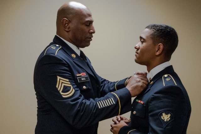 Spc. Donovan Boatwright of the 415th CBRN Brigade, 76th Operational Response Command, ensures his uniform has a proper fit before entering the board interview portion of the 2017 Combined Best Warrior Competition at Joint Base McGuire-Dix-Lakehurst, New Jersey, April 24, 2017. The Combined Best Warrior Competition will decide which enlisted soldier and noncommissioned officer will represent the 412th Theater Engineer Command, 416th Engineer Command and 76th Operational Response Command at the United States Army Reserve Command Best Warrior Competition at Fort Bragg, North Carolina in June (U.S. Army Reserve Photo by Spc. Sean Harding/Released).