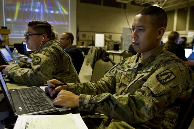 Maj. Lavon Hooker, a U.S. Army Reserve cyber planner assigned to the 335th Signal Command (Theater) out of East Point, Ga., protects the network during Cyber Shield 17 at Camp Williams, Utah, May 2, 2017. Cyber Shield is a National Guard exercise, in cooperation with U.S. Army Reserve, that provides Soldiers, Airmen and civilians from over 44 states and territories the opportunity to test their skills in response to cyber-incidents in a multi-service environment.