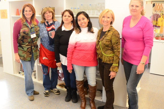 Members of the Ansbach Spouses and Civilians Club Thrift Shop stand together after a hard day's work. At left is ASCC president Irene Sherman, and at right is ASCC Thrift Shop Liaison Alexa Mattil. The ASCC Thrift Shop is open Tuesdays 10 a.m. to 2 p.m. and on Thursdays from noon to 6 p.m. To learn more, call 09802-83-2534 or DSN (314) 467-2534.